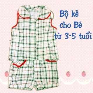 Bộ quần áo kẻ ca rô cho bé từ 03 - 05 tuổi