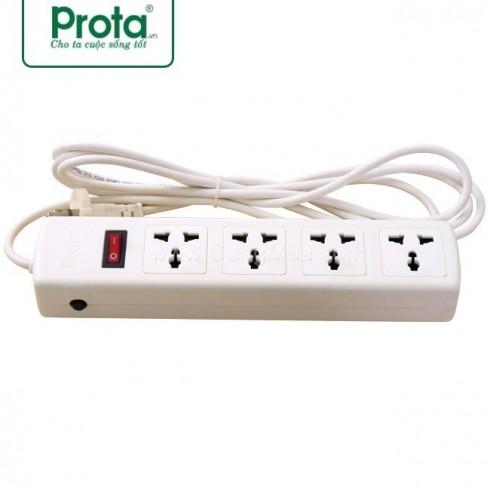 Ổ cắm điện 4 lỗ Prota (Loại 3 chấu có cầu chì)