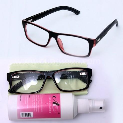 Bộ sản phẩm: Gọng kính bọc da, nước rửa kính và khăn lau
