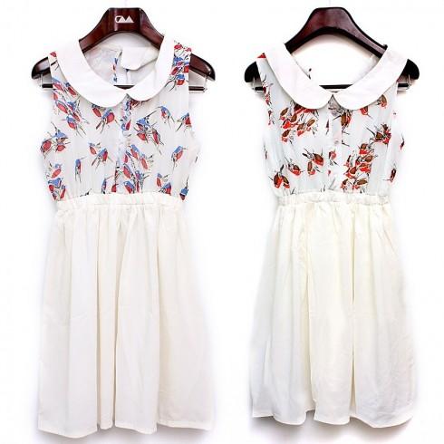 Đầm hoa cổ peter pan kết hợp váy dáng xòe