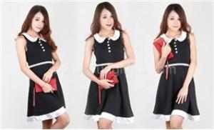 Đầm thun cổ sen tay ngắn phối ren đằm thắm, phong cách nữ sinh - 1 - Thời Trang và Phụ Kiện - Thời Trang và Phụ Kiện