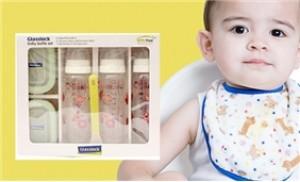 Bộ cho bé ăn 6 món Glasslock: 3 bình sữa, 2 hộp bảo quản, 1 muỗng