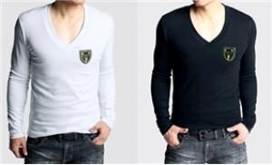 Áo thun nam cổ tim dài tay màu đen, trắng, tím than chất liệu co giãn - 1 - Thời Trang và Phụ Kiện - Thời Trang và Phụ Kiện