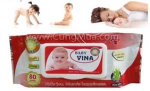 Combo 03 gói khăn giấy ướt Baby Vina (Giao hàng tận nơi)