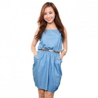 Đầm công sở Denim đính nút túi xinh xắn - Phong cách hiện đại