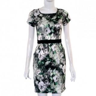 Đầm công sở họa tiết hoa tranh cho nữ