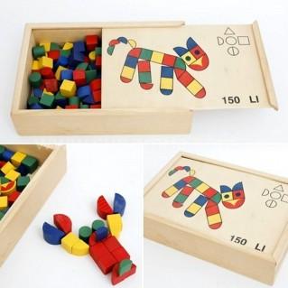 Bộ xếp hình bằng gỗ thông sấy an toàn (150 miếng xếp)