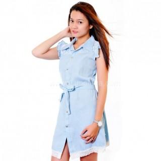 Đầm Denim phối ren kèm thắt lưng trang nhã, dễ thương