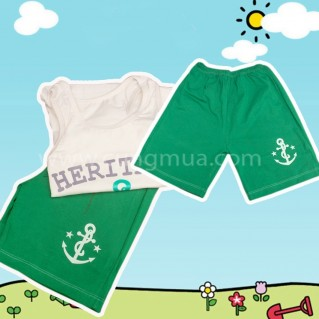 Bộ áo ba lỗ trắng và quần xanh cho bé từ 2 - 7 tuổi