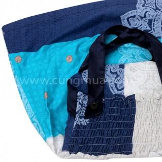 Đầm chun lưng màu xanh đáng yêu cho bé gái từ 3 - 9 tuổi