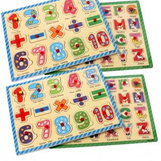 Bảng chữ cái và bộ chữ số bằng gỗ học số, học tiếng cho bé