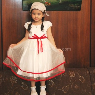 Đầm voan cao cấp đính nơ nhung cho bé gái