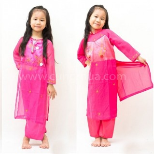 Bộ áo dài thời trang cho bé gái