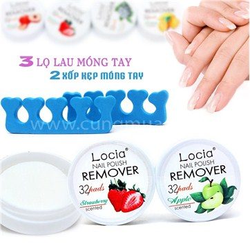 Cùng Mua - Combo 03 hop lau mong tay Nail Polish Remove & 02 xop kep mong