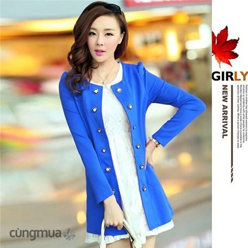 Áo khoác nữ blazer đính nút kiểu mới