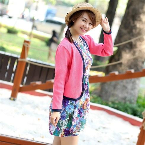 Áo khoác nữ cardigan lửng viền màu