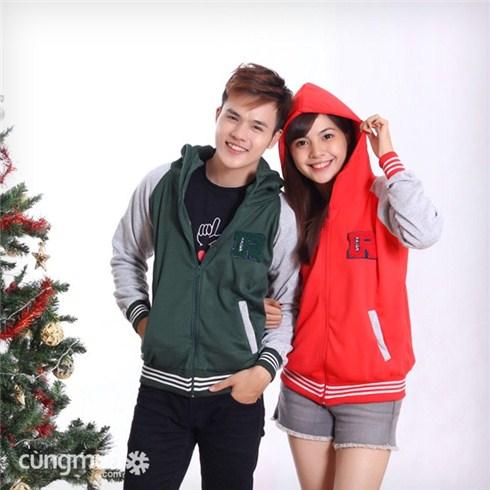 Áo khoác nam nữ phối màu thời trang Noel