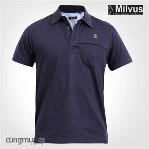 Áo thun T-shirt nam Milvus ngắn tay xanh dương 212
