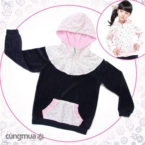 Áo khoác cổ chấm bi cho bé từ 2 - 7 tuổi