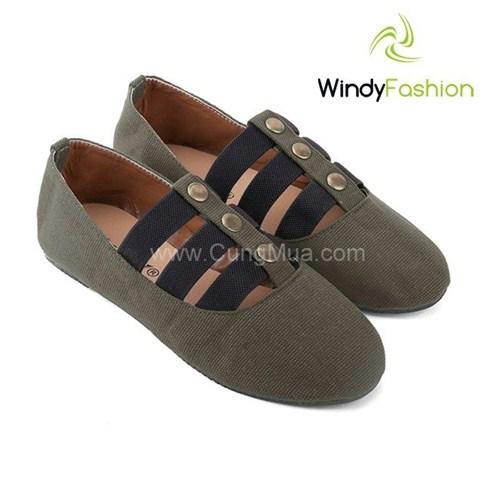 Giày vải jean sandal Windy màu xanh rêu