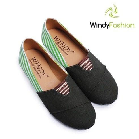 Giày vải jean phối da Windy màu xanh rêu