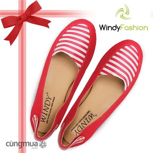 Giày vải jean nữ nút hậu đỏ
