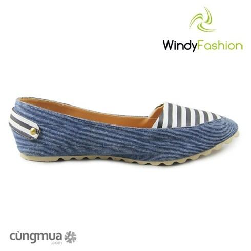 Giày vải jean nữ nút hậu xanh jean