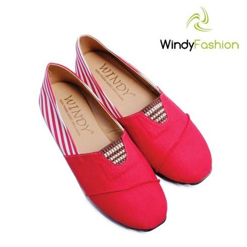 Giày vải jean Windy phối da màu đỏ