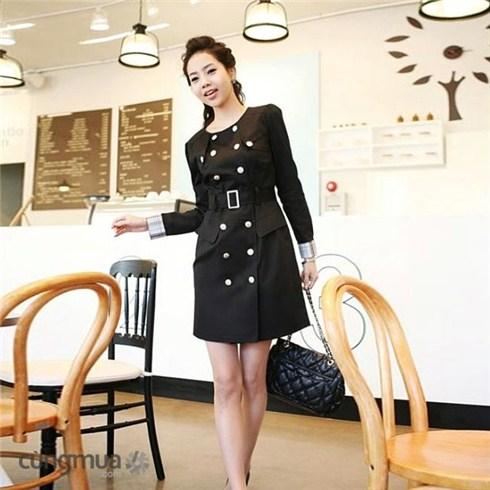 Áo khoác măng tô kaki 2 lớp kèm đai thời trang Hàn Quốc