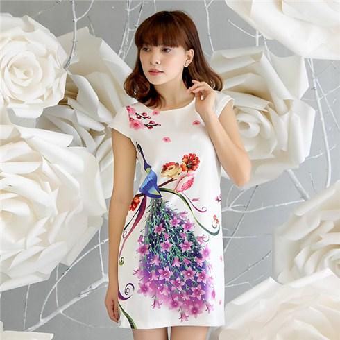 Đầm suông họa tiết chim công 7 màu