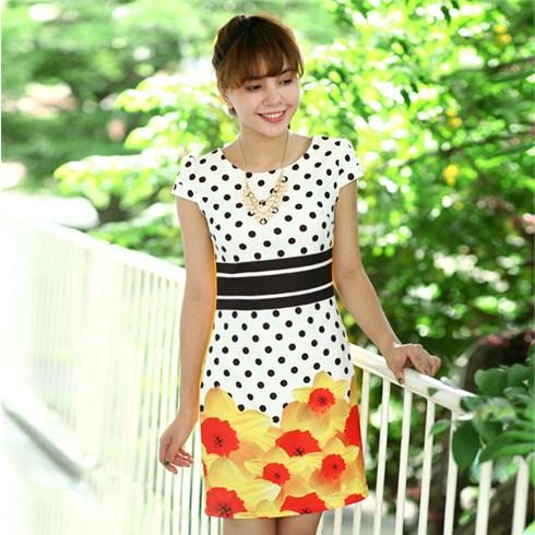 Đầm suông họa tiết chấm bi Pansy