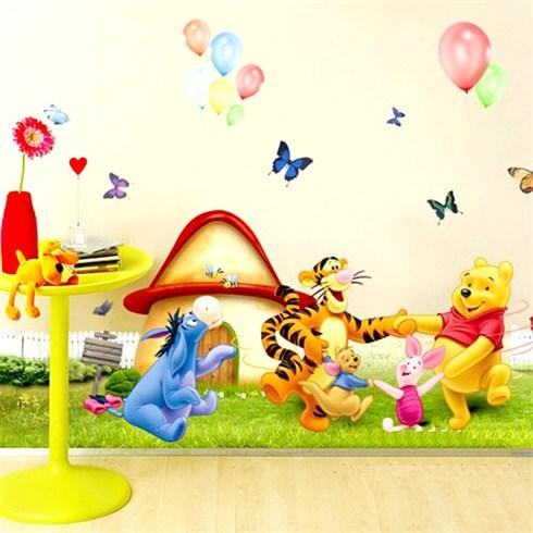 Combo 2 decal dán tường họa tiết gấu Pooh cho bé