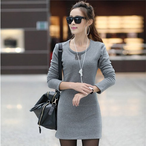 Đầm thun body dệt kim tay dài kiểu dáng Hàn Quốc