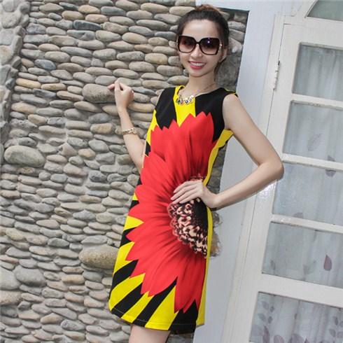 Đầm suông họa tiết hoa hướng dương độc giá rẻ - 401963