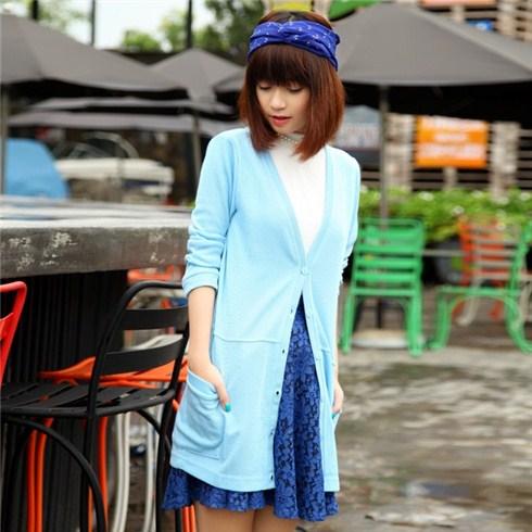 Áo khoác nữ len dệt kim form dài thu đông