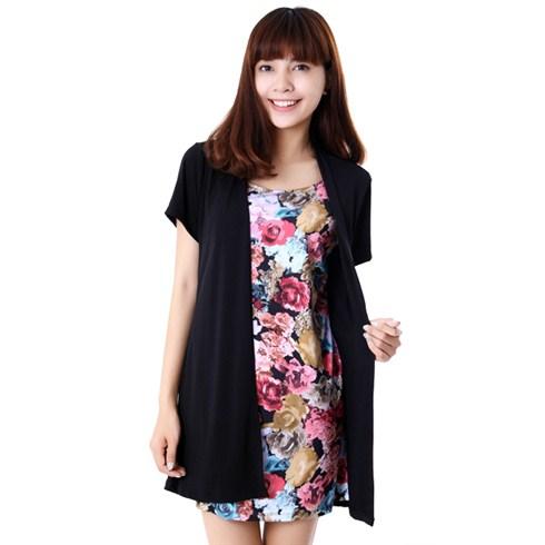 Đầm thun họa tiết phối áo khoác thời trang