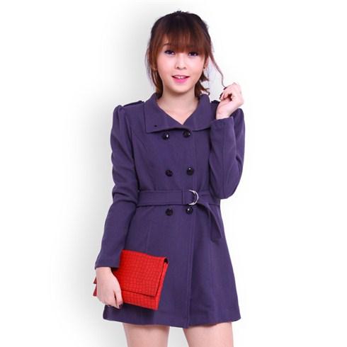 Áo khoác nữ form dài thắt eo