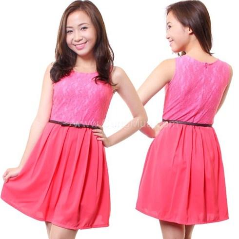 Đầm ren hồng neon trẻ trung