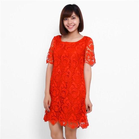 Đầm suông ren nổi cao cấp - TINANA