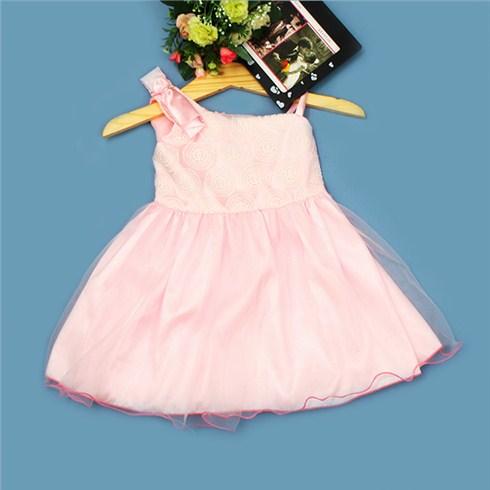 Đầm xòe phối nơ vai cho bé gái từ 1 - 8 tuổi