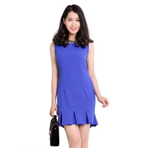 Đầm suông chân váy xếp ly - Thời trang Hoa Cát