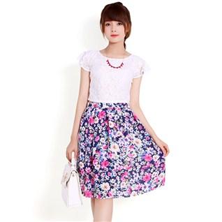 Cùng Mua - Set áo ren và chan váy hoa cho bạn gái