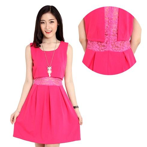 Đầm suông giả 2 lớp crop-top cực xinh Hoàng Khanh