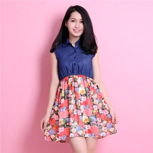 Đầm jean denim váy xòe hoa mùa xuân