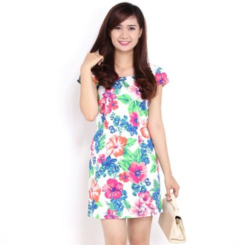 Đầm suông họa tiết hoa - Thời trang Hoa Cát