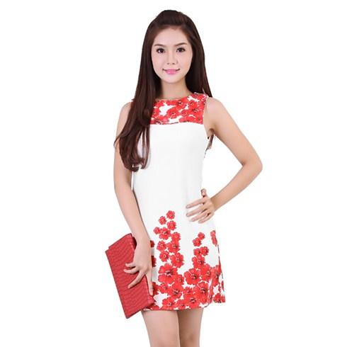 Đầm body in hoa sang trọng màu đỏ