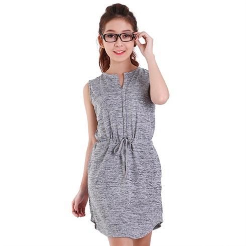 Đầm dệt kim dây rút thời trang NC6786 - màu xám chuột