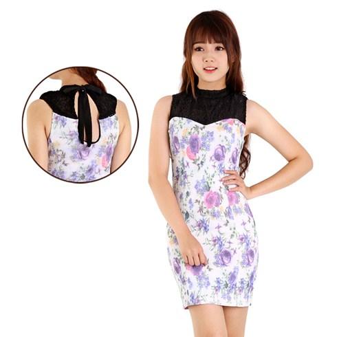 Đầm suông phối ren thời trang