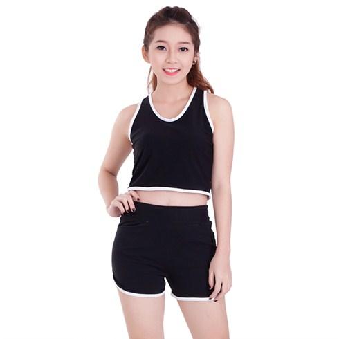 Set áo ba lỗ và quần short tập thể thao - màu đen viền trắng