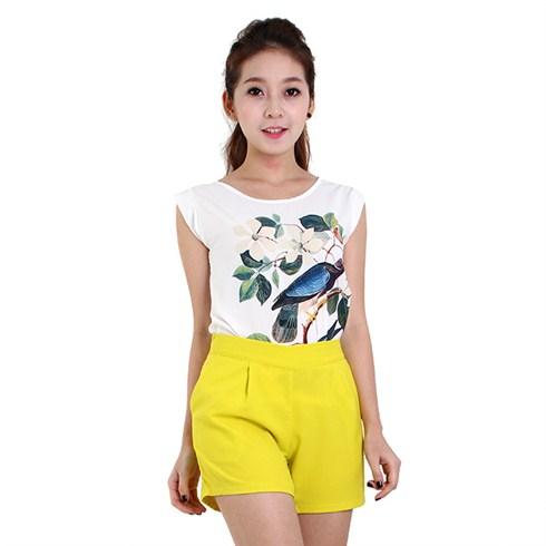 Set quần short và áo hoa lụa thời trang
